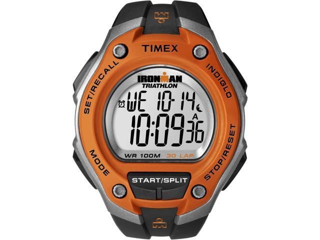 Timex T5K529 Ironman Digital 30-Lap Orange Case & Black Band Men's Watch