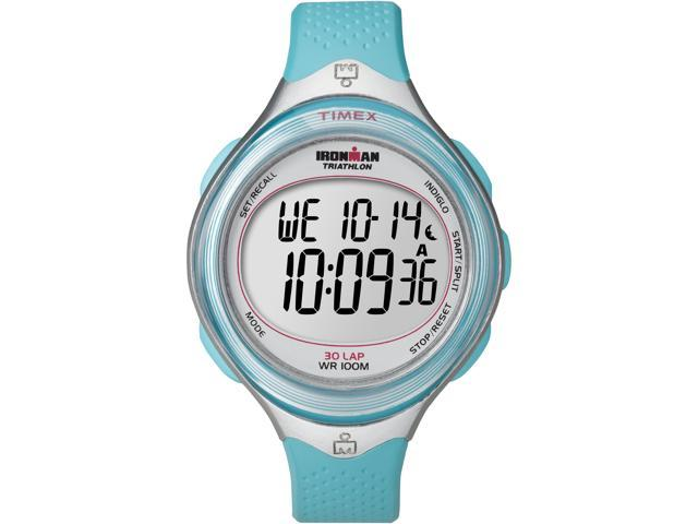 Timex Digital Women's Watch - Ironman 30-Lap Mid Size Clear View | Blue Case