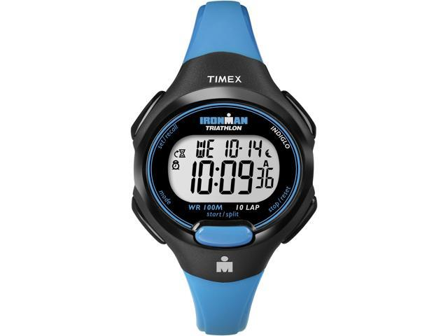 Timex Digital Women's Watch - Ironman 10-Lap Mid Size | Black Case & Blue Strap