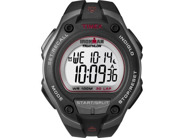 Timex T5K417 Digital Ironman 30-Lap Oversize Gray Case Red Accents Sports Watch