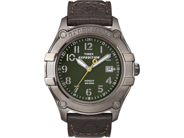Timex Men's Expedition Trail Gray Case Brown Leather Strap Outdoor Watch T49804