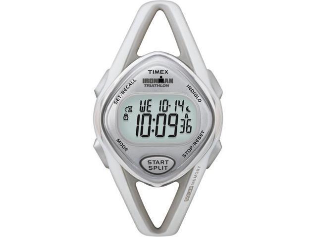 Timex T5K026 Women's Ironman Sleek Premium Gray Case White Resin Strap Watch
