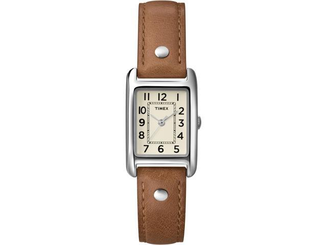 Timex Women's Weekender   Rectangular Chrome Case & Cream Dial   Watch T2N905