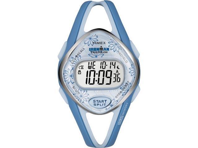 Timex T5K509 Women's Ironman Sleek 50 Lap Premium Blue Case Blue Resin Strap Watch