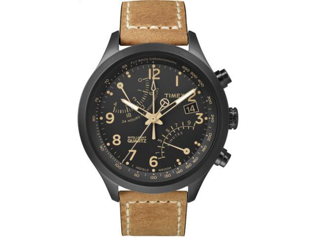 Timex Men's Intelligent Quartz Fly-Back Chronograph Tan Strap Black Case T2N700