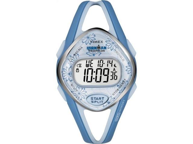 Timex T5K509 Women's Ironman Sleek 50 Lap Premium Blue Case Blue Resin Strap Watch
