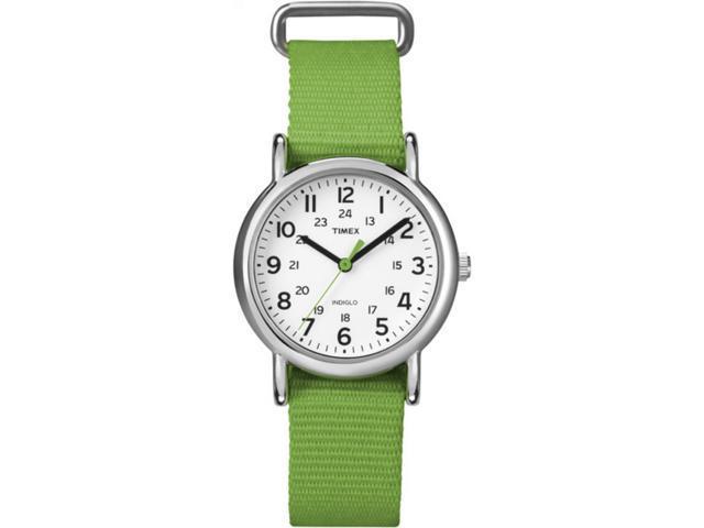 Timex Women's Weekender | Mid-Size Nylon Green Strap | Casual Watch T2N835
