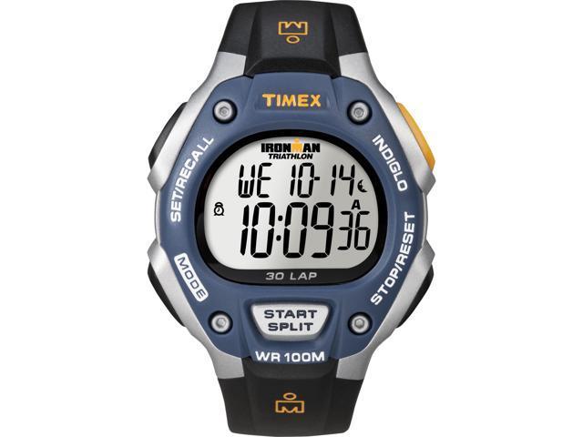 Timex Men's Ironman | 30-Lap Full Size Blue Bezel Black Strap Sport Watch T5E931