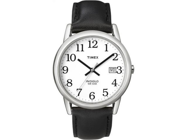 Timex Men's | Vintage Style Black Leather Strap White Dial | Easy Reader Watch