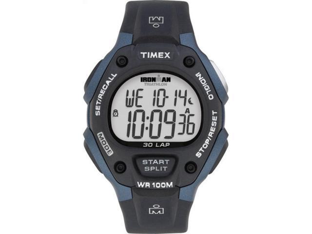 Timex Men's Ironman | 30-Lap Full Size Black & Blue Case | Digital Watch T5H591