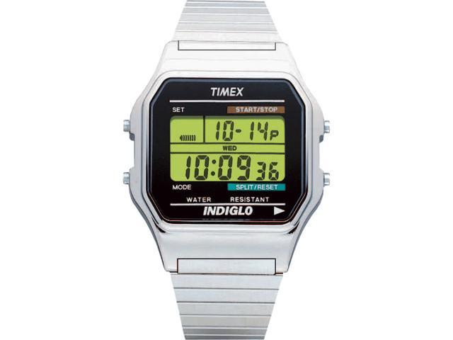 Timex Men's Classics Digital Dress | Silver-Tone Case w Indiglo | Watch T78587