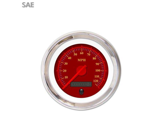 Aurora Instruments GAR142ZEXHABCE Speedometer Gauge - SAE Omega Red , Red Modern Needles, Chrome Trim Rings camper