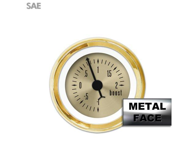 Aurora Instruments GAR23ZEXMAABC Turbo Gauge - American Classic  Gold Face, Black Classic Needles, Gold Bezels