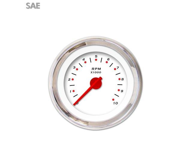 Aurora Instruments GAR155ZEXIABCE Tachometer Gauge - Pegged White , Red Modern Needles, Chrome Trim Rings dirt 356