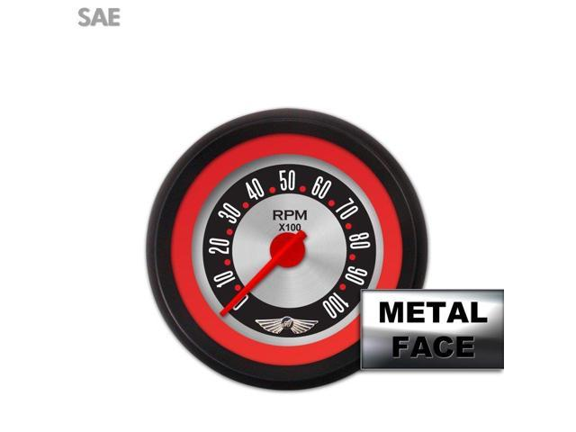 Aurora Instruments GAR25ZEAIACCE Tachometer Gauge with emblem - American Retro Rodder  Red Ring Face, Red Modern