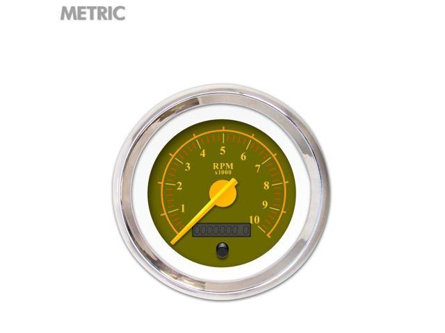 Aurora Instruments GAR141ZMXHABCI Speedometer Gauge - Metric Omega Olive , Yellow Modern Needles, Chrome Trim 510