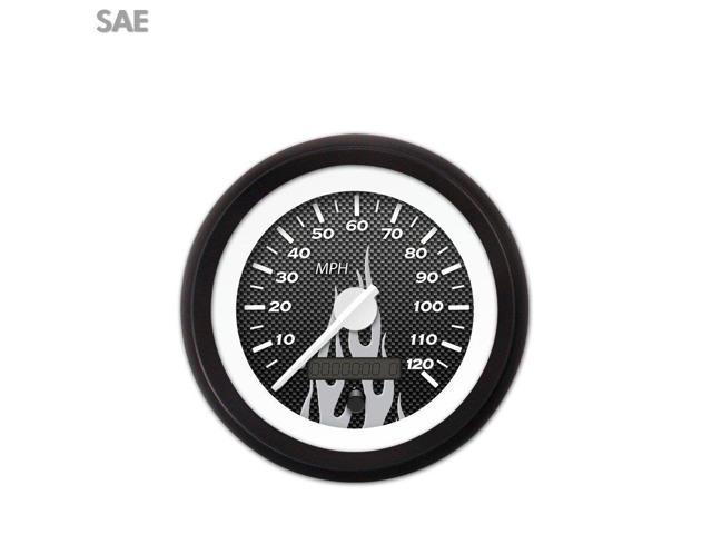 Aurora Instruments GAR294ZEXHACCD Speedometer Gauge - SAE Carbon Fiber Gray Flame, White Modern Needles, Black DIY