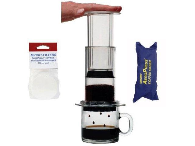 AeroPress Coffee and Espresso Maker with zippered nylon tote bag with bonus 350 Micro Filters ...