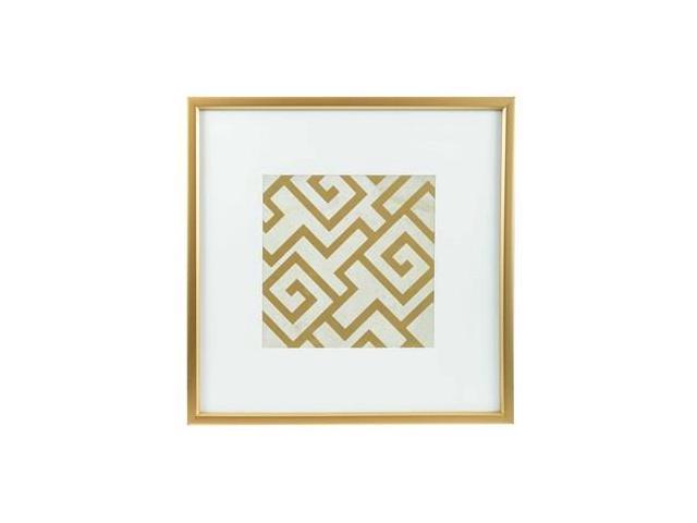 Gold Square Wall Decor : Gold white geometric square framed wall art newegg