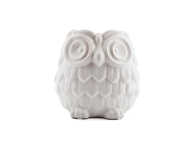 Medium White Ceramic Owl Vase
