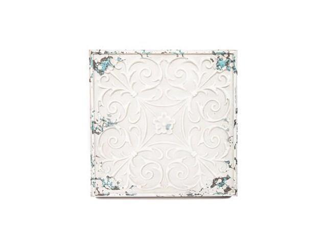 White Tin Wall Decor : Distressed white metal wall decor plaque newegg