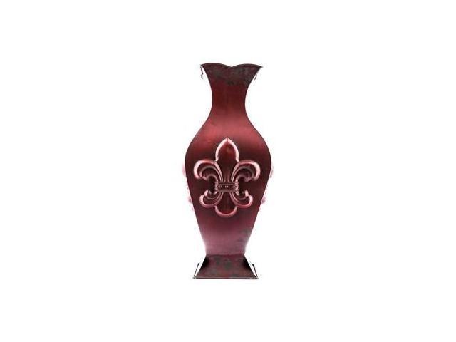 large distressed red metal vase with fleur de lis. Black Bedroom Furniture Sets. Home Design Ideas