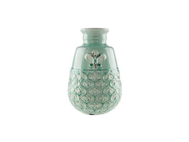 aqua fleur de lis ceramic vase from thecraftycrocodile. Black Bedroom Furniture Sets. Home Design Ideas
