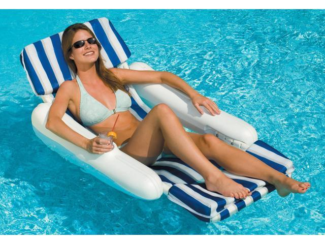 Sunchaser Padded Floating Lounger for swimming pools - Blue and White Strips