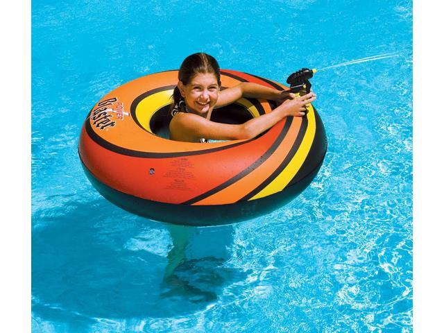 Powerblaster Squirter Inflatable Ring with Built-in Water Pistol - Orange/Red
