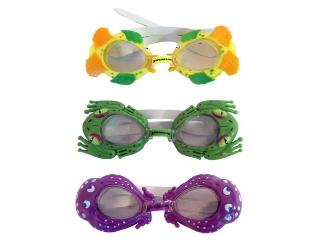 Sea Pals Kids Goggles for Swimming Pool - 3 Pack