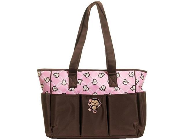baby boom brown pink monkey tote diaper bag changing pad. Black Bedroom Furniture Sets. Home Design Ideas