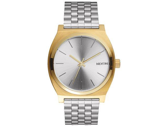 Nixon Men's A0452062 Time Teller Gold/Silver/Silver Analog Watch, Silver Stainless Steel Band, Round 37mm Case