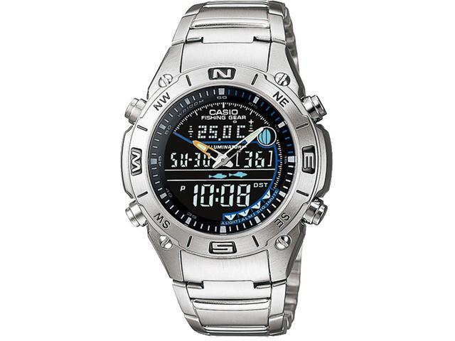 Casio AMW-703D-1AVDF Outgear Analog/Digital Display Quartz Watch, Silver Stainless Steel Band, Round 41.5mm Case