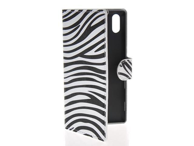 MOONCASE Zebra Flip Leather Wallet Card Slot / Bracket Case Cover for ... Zebra T3