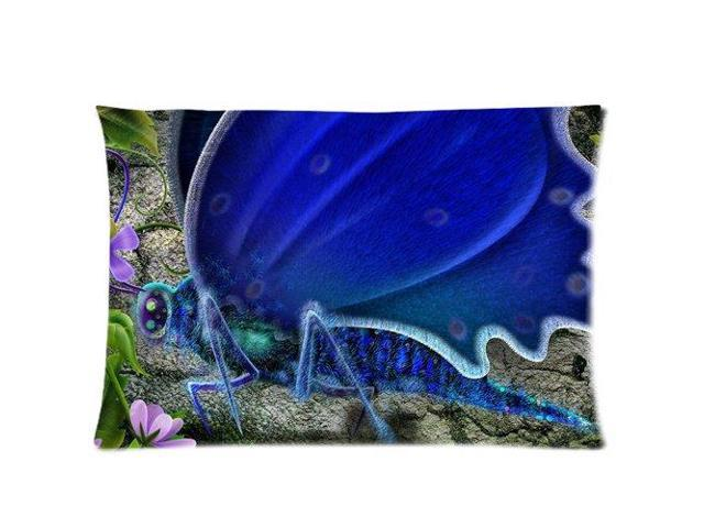 Blue Butterfly Art Design Pictures Pillowcases Custom Pillow Case Cushion Cover 16 X 16 Inch Two ...