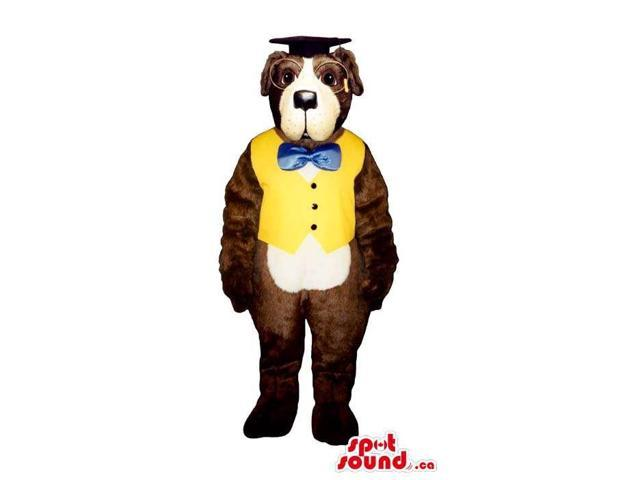 Customised Cute Brown Dog Plush Canadian SpotSound Mascot Dressed In Teacher Clothes