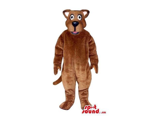 Customised Cute All Brown Dog Plush Canadian SpotSound Mascot With Cartoon Eyes