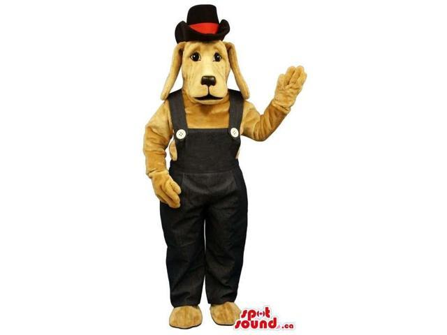 Beige Dog Plush Canadian SpotSound Mascot Dressed In Black Overalls And A Hat