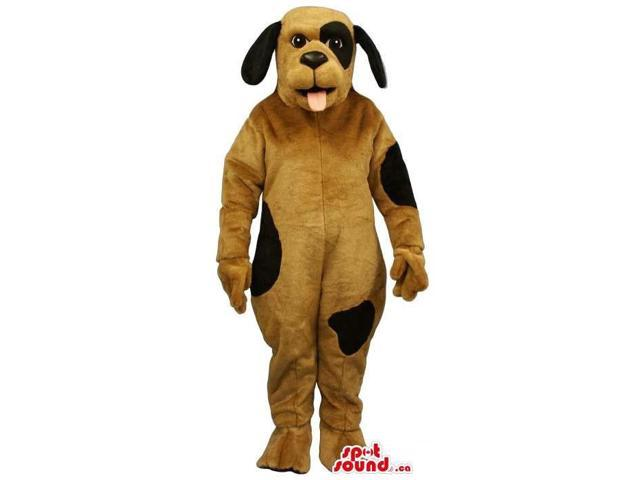 Customised Cute Brown Dog Plush Canadian SpotSound Mascot With Black Spots