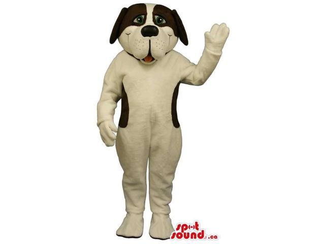 Customised Cute White Dog Plush Canadian SpotSound Mascot With Black Spots