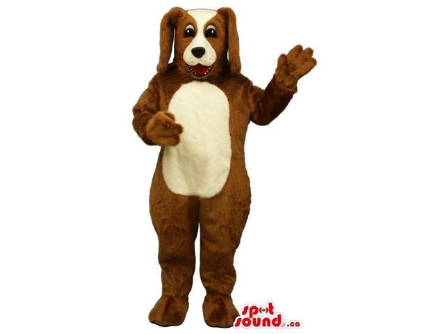 Customised Cute Brown Dog Plush Canadian SpotSound Mascot With White Belly