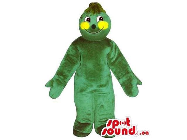 Customised Green Courgette Vegetable Canadian SpotSound Mascot With Yellow Cheeks