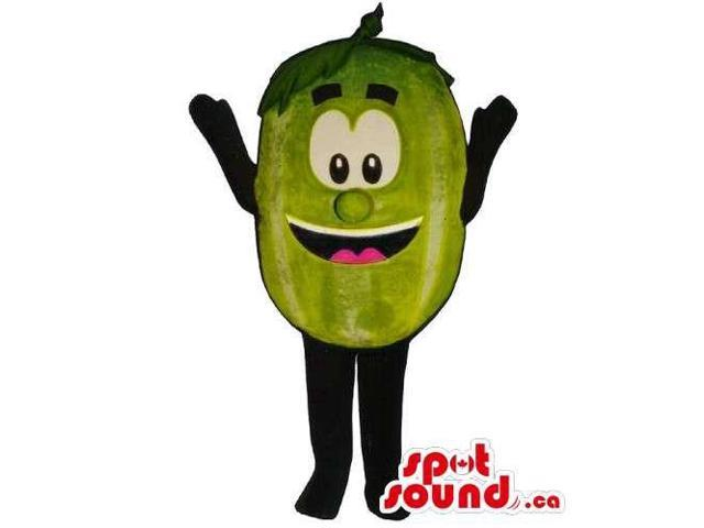Customised Green Pea Canadian SpotSound Mascot With Large Eyes And Smile