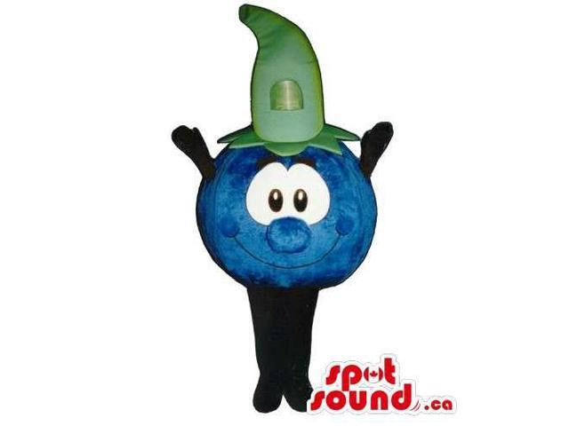Customised Blueberry Canadian SpotSound Mascot With Large Eyes And A Green Hat