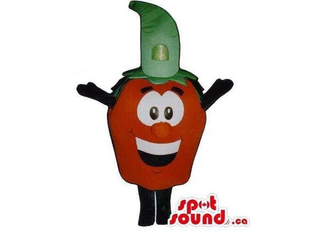 Customised Strawberry Canadian SpotSound Mascot With Large Eyes And A Green Hat
