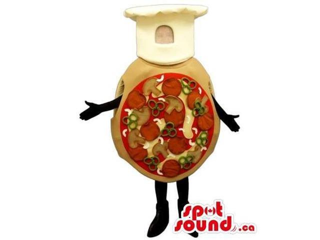 Customised Whole Pizza Canadian SpotSound Mascot Dressed In A Chef Hat