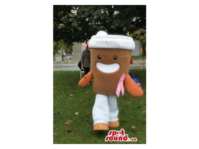 Kawaiii Large Coffee Cup Plush Canadian SpotSound Mascot With Breast Cancer Ribbon