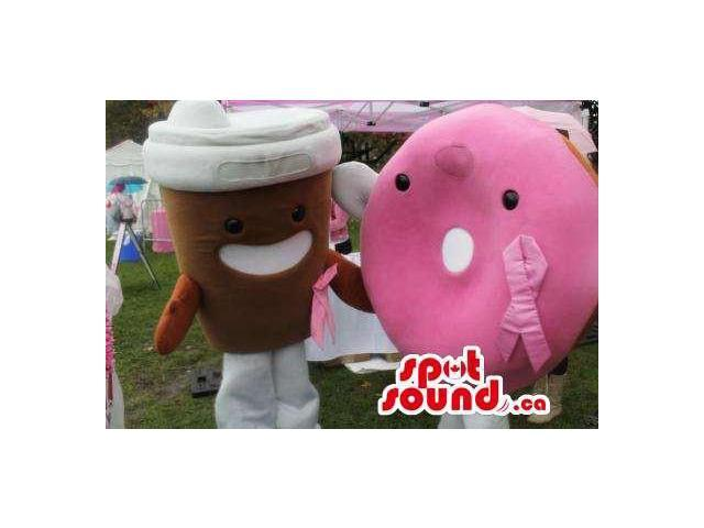 Kawaiii Large Coffee Cup And Pink Doughnut Plush Canadian SpotSound Mascots