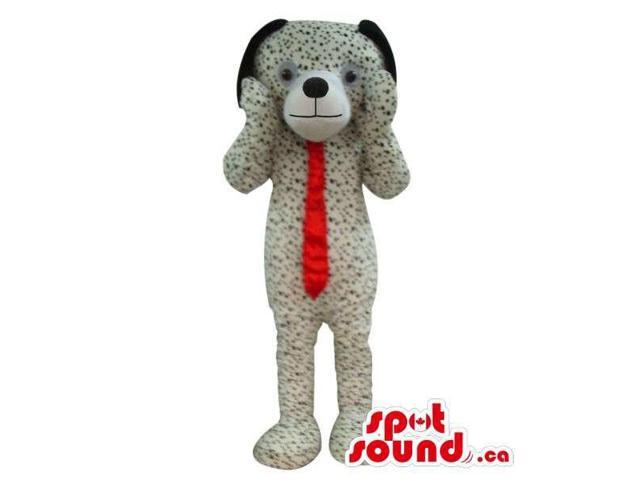 Cute Dalmatian Dog Plush Canadian SpotSound Mascot With A Long Red Tie