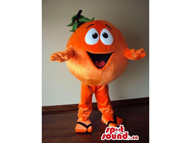 Orange Fruit Canadian SpotSound Mascot With Large Eyes And Smile Dressed In Flip-Flops